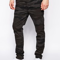 ASOS Skinny Chinos In Overdyed Camo