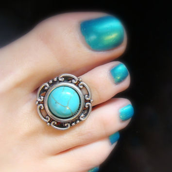 Fit For a Queen - Turquoise Stone - Silver - Stretch Bead Toe Ring