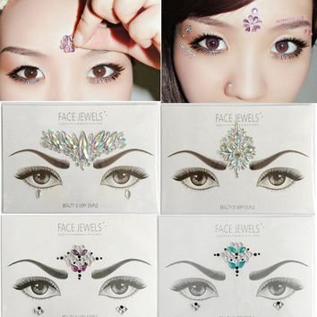 face jewels Crystal Temporary Eyes Tattoo Transfer Eyeshadow Eyeliner Face Stickers q71020