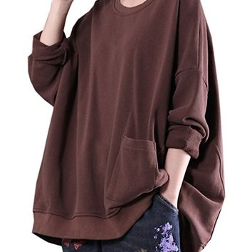 Women's Cotton Long Sleeve Polo Neck Tunic Sweatshirt Tops Brown