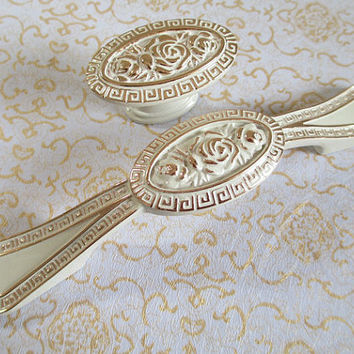 Dresser Pull Drawer Pulls Handles Knobs White Gold Flower Shabby Chic Kitchen Cabinet Handle Pull Knob Furniture Handles Hardware Decorative
