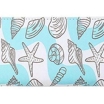 Seashell print zip around wallet