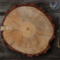 "9""-10"" Rustic Wood Tree Slice Charger Wedding Cake Base or Cupcake Stand for your Event and Party - Thanksgiving or Christmas Place Setting"