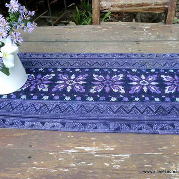 Table Runner In Natural Hmong Indigo Batik Hemp Purple Embroidery And Fringe 94 inches