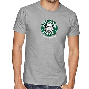 STAR DARTH VADER WAR INSPIRED FUNNY SLOGAN THUMBLR STARBUCKS T SHIRT TOP TEE - Grey