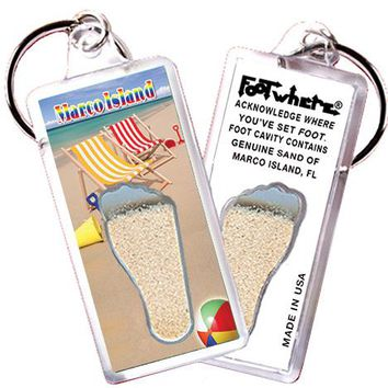 Marco Island FootWhere® Souvenir Key Chain. Made in USA
