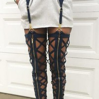 """danger zone"" hollow out zipper harness leggings pants"