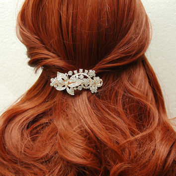 Butterfly Bridal Barrette,  Wedding Headpiece, Crystal Barrette, Wedding Accessories, Flower Head Piece, Hair Jewelry