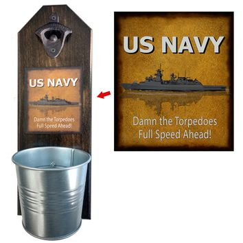 Navy Damn the Torpedoes Bottle Opener and Cap Catcher, Wall Mounted