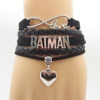 infinity love batman bracelets charm love