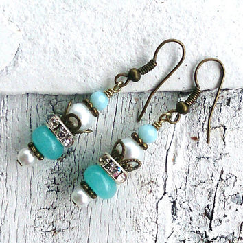 Aqua Green Jade Earrings Antique Bronze Pearl Earrings GEMSTONE EARRINGS Nickel Free