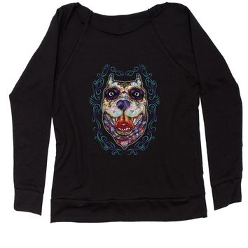 (Color) Pitbull Sugar Skull Day Of The Dead Slouchy Off Shoulder Oversized Sweatshirt