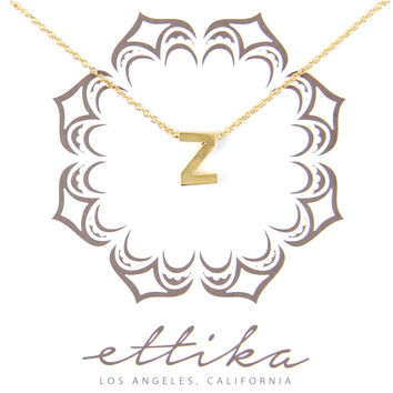 Initial Z Charm Necklace in Gold