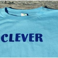 Toddler and Baby Aqua and Navy Blue Clever Tshirt