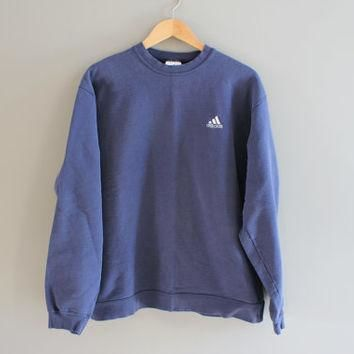 Adidas Sweatshirt Grey Blue Fleece Lining Cotton Adidas Pullover Baggy Slouchy Sweater