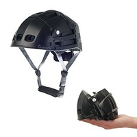 Foldable helmet Plixi Fit - for bike, kick scooter, skateboard, overboard, e-bike - CPSC standard, same protection as classic helmet - Volume divided by 3 when folded (Black, L/XL)