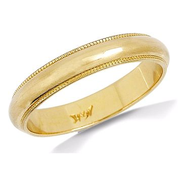 Men's 4.0 mm Wide Beaded Edge 14k SOLID Yellow Gold Band