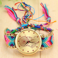 Women's Dreamcatcher Hand Watch with Wool Knitting Bracelet Rope Tie Jewelry