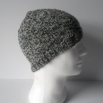 Men's Beanie Hat.  Men's skull cap. Guy's beanie hat. Hand knitted hat. Knit tweed hat. Men's accessory.  Christmas gift.