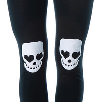 Skeleton on Knees Leggings Black One