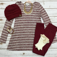 On the Run Top: Burgundy