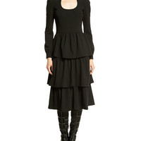 Long-Sleeve Tiered-Skirt Dress, Black