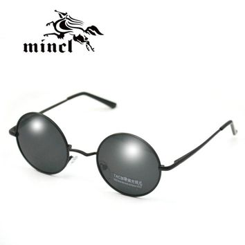 Mincl/ Vintage circle glasses prince's mirror polarized sunglasses round box small sunglasses