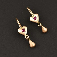Antique Victorian Gold Heart Ruby Earrings