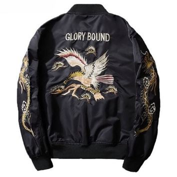 AmberHeard Fashion Spring Autumn Men Jacket Streetwear Dragon Eagle Embroidery Japan Black Bomber Jacket MA1 Flight Aviator Coat