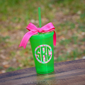 Lilly Pulitzer Monogrammed Insulated Straw Tumbler - many monogram styles and Lilly prints to choose from!