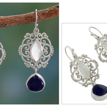 Moonstone Lapis Lazuli and Silver Earrings from India - Simply Sumptuous | NOVICA