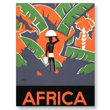 Vintage Art Deco Travel Poster, African Jungle Postcard from Zazzle.com