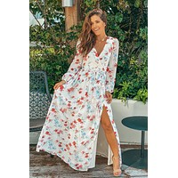 Ivory Floral Printed Maxi Dress with Puff Sleeves