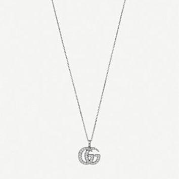 GUCCI - Double G 18ct white-gold and diamond necklace   Selfridges.com