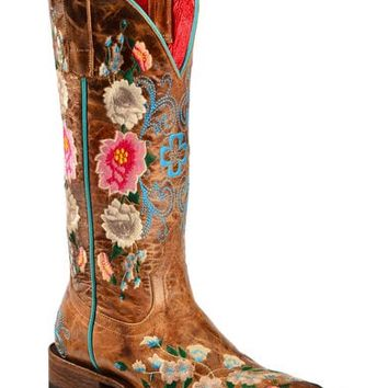 Macie Bean Rose Garden Cowgirl Boots - Square Toe