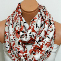 cinnamon flowers Infinity Scarf,nomad scarf,,Loop Scarf,Circle Scarf, Multi-color cotton fabric Scarf,Cowl Scarf, eternity Scarf