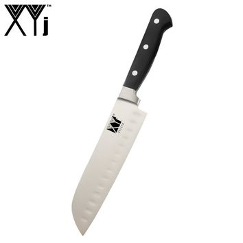 XYj Brand Kitchen Knife Stainless Steel Japanese Style 7 inch Santoku Knife Cutting Meat Sushi Super Sharp Japanese Chef Knife