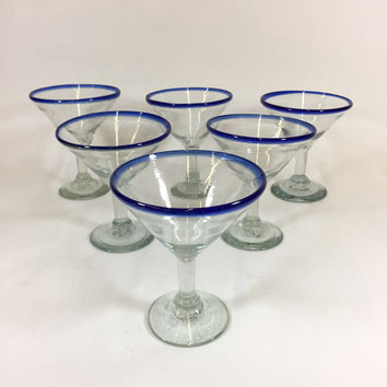 Mexican Cobalt Martini Glasses, Vintage Handmade Glasses, Set of 6 Martini Glasses, Retro Bar, Southwest Barware, Retro Stemware, Drinkware
