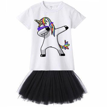 1Y - 12Y Dabbing Unicorn Panda Pug Dog Cat Zebra Rabbit Kids Girl Dress Summer T Shirt Tutu Dress 2pcs Set Children Baby Clothes