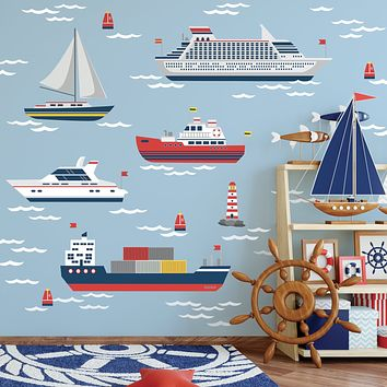 Nautical Wall Decals, Boat Wall Decals, Sailboat and Ship Wall Stickers and Ocean Waves, Nursery Decals, Matte Removable Kids Wall Decals