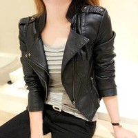 Biker Coat Women Short Design Leather Overcoat Blazer Jacket Suede Casual Punk
