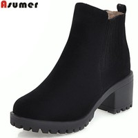 ASUMER 2018 hot sale women boots black red autumn winter ladies boots flock round toe square heel ankle boots big size 34-43