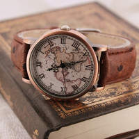 Vintage nautical maps watches (Color: Brown) (With Thanksgiving&Christmas Gift Box)= 1947005636