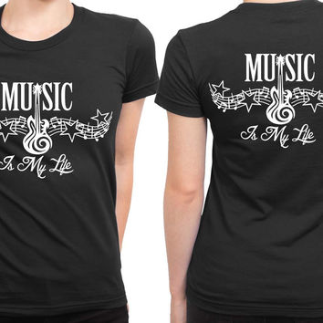 Music Is My Life Tribal Tattoo 2 Sided Womens T Shirt