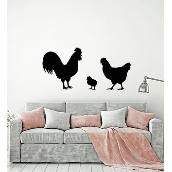 Vinyl Wall Decal Chicken Rooster Chick Bird Farm Village House Pets Stickers Mural (g1711)
