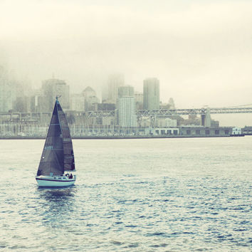 "Nautical photograph, ocean photograph, San Francisco, sailing, sail boat, water, gray, dusty blue, men, boys room, travel ""Bring Me a Boat"""