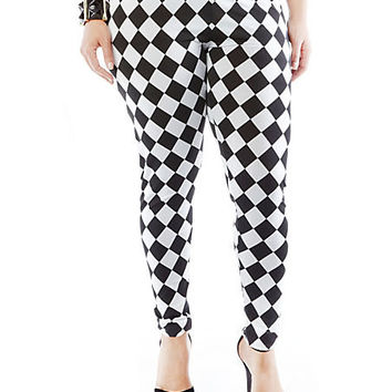Plus-Size Harlequin Leggings - Rainbow