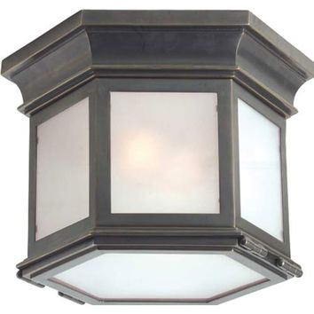 Visual Comfort and Company CHO4110BZ-FG Bronze Outdoor Small Club Hexagonal Flush Mount