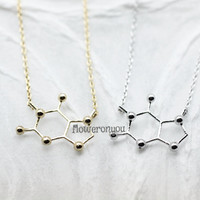 Coffee Necklace. Caffeine Molecule necklace. Coffee pendant. Chemistry Necklace