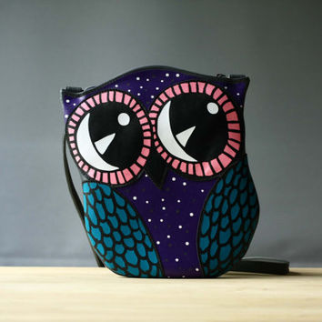Owl Leather Purse Starry Owl Bag